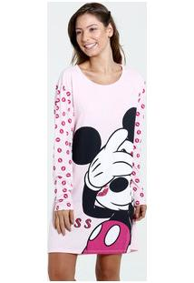 Camisola Feminina Manga Longa Estampa Mickey Disney