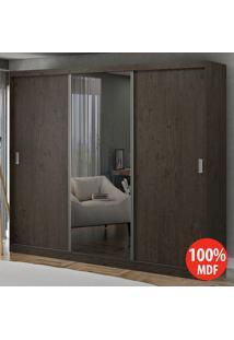 Guarda Roupa 3 Portas De Correr Com 1 Espelho 100% Mdf 1904E1 Málaga - Foscarini