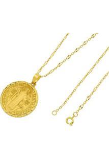 Pingente São Bento Com Corrente Tudo Joias Francesa Folheado A Ouro 18K - Unissex-Dourado