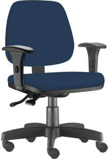 Cadeira Giratória Executiva Lyam Decor Job Suede Azul Marinho