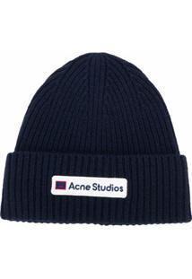 Acne Studios Gorro Com Patch De Logo - Azul