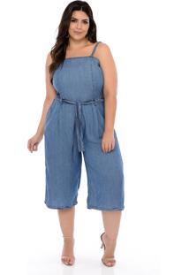 Macacão Elegance All Curves Plus Size Jeans Pantacourt-54