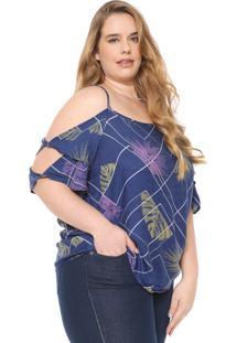 aeeb5132e ... Blusa Ciganinha Cativa Plus Estampada Azul-Marinho