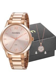 Kit Relógio Mondaine Feminino Com Colar E Brincos 53922Lpmgre4K1