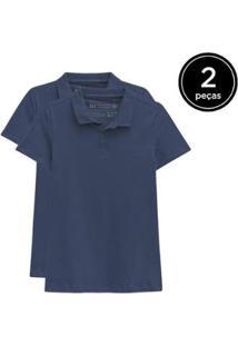 Kit 2 Camisas Polo Basicamente Feminino - Feminino-Azul Escuro