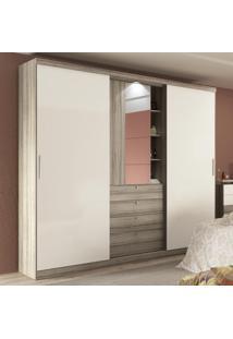 Guarda-Roupa 2 Portas Com Espelho Zeus 1063 Anis/Camurça - Carraro Móveis
