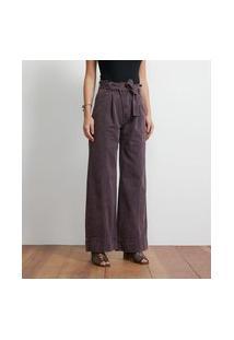 Calça Wide Leg Jeans Com Cinto Faixa