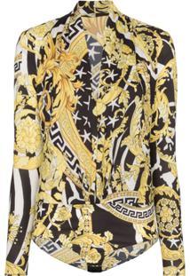 Versace Savage Barocco Print Bodysuit - Preto