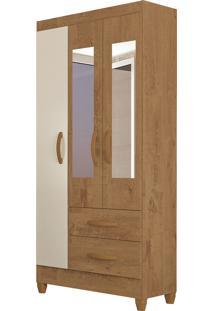 Guarda Roupa Real 3 Portas C/ Espelho Canelato Rústico/Natura Off White Atualle Móveis - Tricae
