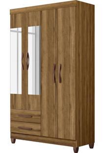 Guarda-Roupa Âmbar 4 Portas Com Espelhos E 2 Gavetas Externas Amêndoa Albatroz