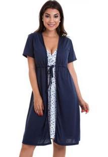 Camisola Luna Cuore Gestante Amamentação Com Robe - Feminino-Marinho