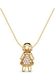 Pingente Menina Ouro Amarelo E Diamantes 14 Mm