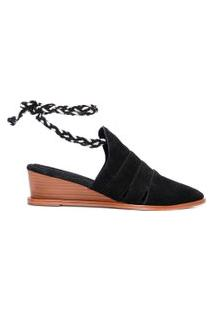 Sapato Feminino Mule Recortes - Preto