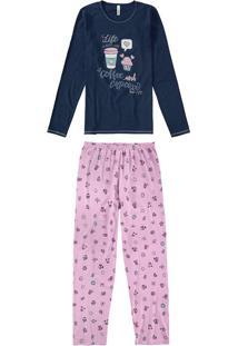Pijama Longo Estampado Malwee Liberta