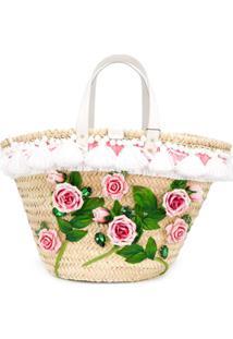 Dolce & Gabbana Bolsa Tote Kendra Com Aplicação Floral - Neutro