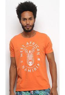 Camiseta Jab West African Manga Curta Masculina - Masculino-Laranja
