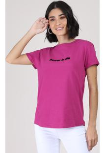 "Blusa Feminina ""Power In Life"" Manga Curta Decote Redondo Roxa"