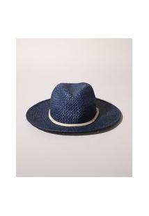 Chapéu De Praia Feminino Com Cordão Azul Escuro