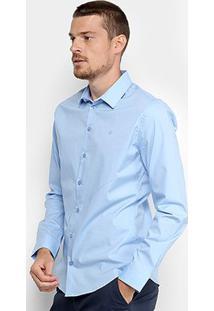 Camisa Forum Básica Manga Longa Square Masculina - Masculino-Azul