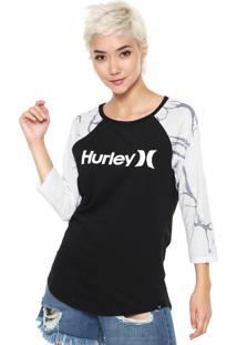 Camiseta Hurley Logo Raglan Preta