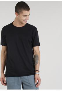Camiseta Masculina Manga Curta Gola Careca Preta