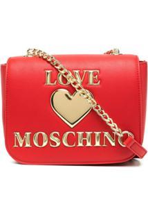 Love Moschino Bolsa Transversal Com Placa De Coração - Vermelho