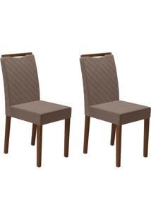 Conjunto Com 2 Cadeiras Munique Amêndoa E Marrom