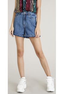 303a79c97 CEA. Short Jeans Feminino Mindset Vintage Com Barra Dobrada Azul Médio