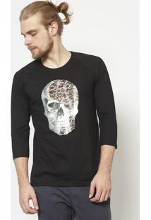 Camiseta Caveira- Preta & Laranja - ÊNfaseãŠNfase