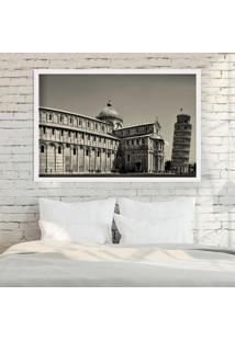 Quadro Love Decor Com Moldura Torre De Pisa Branco Grande