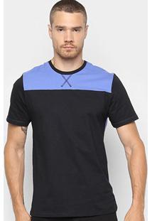 Camiseta Burn Gola Trançador Masculina - Masculino-Azul