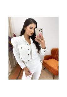 Jaqueta Miss Misses Com Gola Redonda Off-White