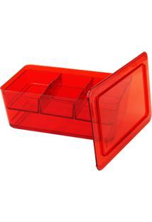 Organizador Retangular Retrô Com Divisória 27,8 X 17,5 X 11 Cm Vermelho Transparente Coza