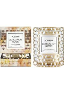 Vela Bergamot Rose Roses Collection Redoma Texturizada Geométrica 3D 55 Horas Voluspa