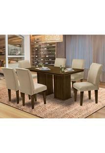 Mesa Para Sala De Jantar Com 6 Cadeiras Amsterdam – Dobuê Movelaria - Castanho / Bege