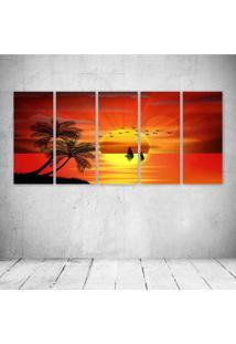 Quadro Decorativo - Sunset Paradise - Composto De 5 Quadros