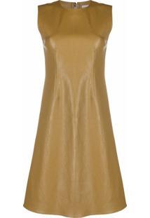 Bottega Veneta Vestido Reto De Couro - Verde