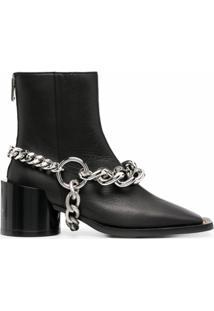 Mm6 Maison Margiela Ankle Boot Com Detalhe De Corrente - Preto