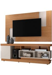 Conjunto Rack Mais Painel Para Tv Ate 50 Polegadas Tijuca– Colibri - Natural Real / Off White