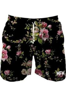 Short Tactel Maromba Fight Wear Black Flowers Com Bolsos Masculino - Masculino-Preto