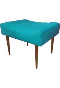 Puff Decorativo Requinte Capitonê Suede Azul Turquesa - D'Rossi.