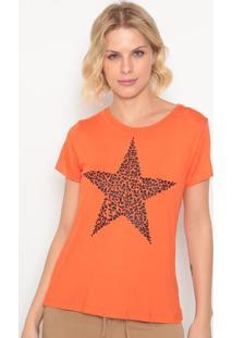 Blusa Estrela Com Termocolantes - Laranja & Preta- Ccavalari