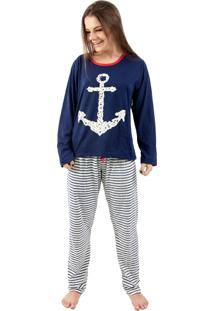 Pijama Estampado Âncora 4 Estações Azul Marinho