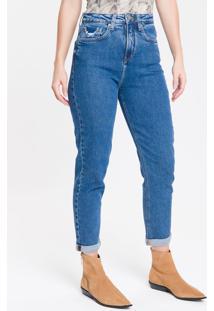 Calça Jeans Feminina Mom Cintura Super Alta Azul Marinho Calvin Klein - 34