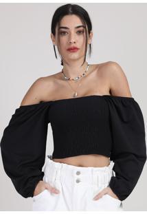 Blusa Feminina Manu Gavassi Cropped Ombro A Ombro Com Lastex Manga Bufante Preta