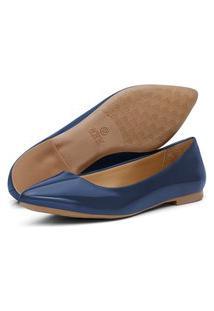 Sapatilha Feminina Q & A Bico Fino Confort Verniz Azul Marinho