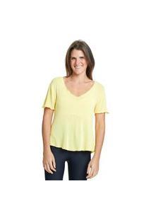 Camiseta Com Linho Básica Kaukim Amarela