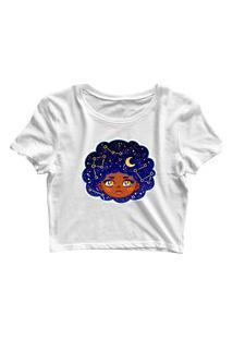 Blusa Blusinha Feminina Cropped Tshirt Camiseta Black Power Universo Branco