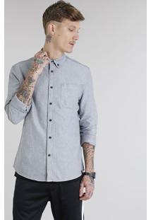 Camisa Masculina Com Bolso Manga Longa Cinza