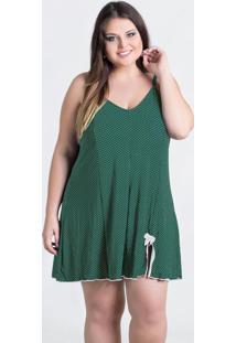 Camisola Plus Size Verde Com Fenda Frontal